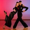 Professional ballroom dance couple preform an exhibition dance Royalty Free Stock Photo