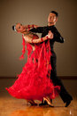 Professional ballroom dance couple preform an exhibition dance Stock Photography