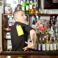 Professional barmen making cocktail Stock Image