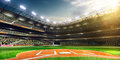 Professional baseball grand arena in sunlight the Stock Image