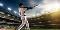 Professional baseball player in action Royalty Free Stock Photo