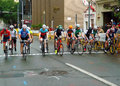 Professional Bicycling Racers at the Starting Line Royalty Free Stock Photo