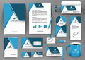 Professional blue universal branding design kit with origami element.