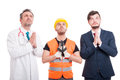 Professional builder, lawyer and doctor looking for hope Royalty Free Stock Photo