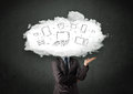 Professional business man with cloud network head concept Royalty Free Stock Photos