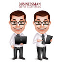 Professional Business Man Vector Character Holding Laptop and Mobile Tablet Royalty Free Stock Photo