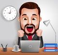 Professional Business Man Vector Character with Shocked and Surprised Expression Working in Office Desk Royalty Free Stock Photo