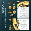 Professional Certificate Design with badge vector illustration