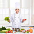 Professional chef with fresh ingredient ready to cook some food Stock Photography