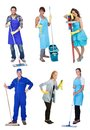 Professional cleaners with equipment Stock Images