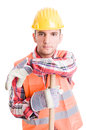 Professional construction worker resting Royalty Free Stock Photo