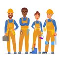 Professional construction workers specialists characters team. Friendly workers in workwear uniiform standing together