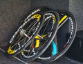 Professional cycling wheels houilles france march rd four bicycle are in a team s truck before the start in the prologue stage of Stock Images