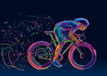 Professional cyclist involved in a bike race. Royalty Free Stock Photo