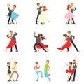 Professional Dancer Couple Dancing Tango, Waltz And Other Dances On Dancing Contest Dancefloor Set
