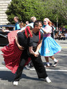 Couple of professional dancers performance at ballroom dance