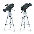Professional digital video camera set on a tripod. Film lens. Flat 3d vector isometric illustration. Royalty Free Stock Photo