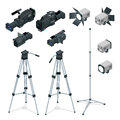 Professional digital video camera set on a tripod. Film lens, television camera. Spotlights realistic transparent. Flat