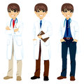 Professional doctor posing young male on three different poses with white coat Stock Images