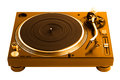 Professional golden dj turntable isolated on white Royalty Free Stock Photo