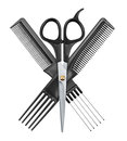 Professional hairdresser scissors and two combs Royalty Free Stock Photo