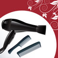 Professional hairdryer and two combs Royalty Free Stock Images
