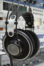 Professional headphones in a recording studio Royalty Free Stock Photography
