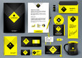 Professional luxury universal branding design kit for jewelry shop, cafe, restaurant, hotel. Golden style with yellow.