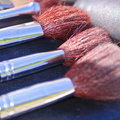 Professional make up brushes closeup macro Royalty Free Stock Photos