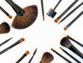 Professional make up tools brushes isolated on white background Stock Photography