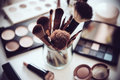 Professional makeup brushes and tools, make-up products set Royalty Free Stock Photo