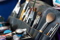 Professional makeup case wirh brushes  Stock Photos