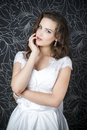 Professional makeup hairstyle bride beautiful woman in white wedding dress Royalty Free Stock Photo