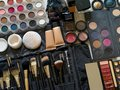 Professional makeup photo of a set of applicators and brushes from a artist Stock Images