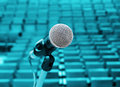 Professional microphone against concert hall Stock Images