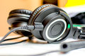 Professional monitor dj headphones over ear jack audio connector Royalty Free Stock Photo