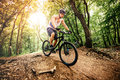 Professional mountain bike cyclist riding trail in forest Royalty Free Stock Photo