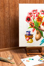 Professional painter drawing watercolor flowers Royalty Free Stock Photo