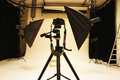 Professional photo studio and equipment big with expensive Stock Photo