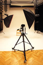 Professional photo studio and equipment big with expensive Stock Images