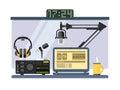 Professional radio station studio