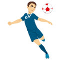 Professional soccer player illustration of an active male kicking ball Stock Images
