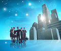 Professional team blue city illustration Royalty Free Stock Photo