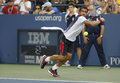 Professional tennis player janko tipsarevic during fourth round match at us open against david ferrer new york september billie Stock Photos