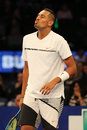 Professional tennis player Nick Kyrgios of Australia in action during BNP Paribas Showdown 10th Anniversary tennis event