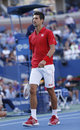 Professional tennis player novak djokovic during fourth round match at us open against marcel granollers flushing ny september Royalty Free Stock Photo