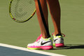 Professional tennis player Roberta Vinci of Italy wears Nike tennis shoes during her first round match at US Open 2016 Royalty Free Stock Photo