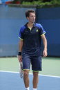 Professional tennis player sergiy stakhovsky during his first round doubles match at us open flushing ny august billie jean Royalty Free Stock Images