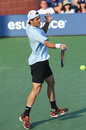 Professional tennis player tommy haas during first round singles match at us open new york august against paul henri mathieu Royalty Free Stock Photos