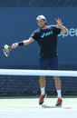 Professional tennis player tommy haas from germany practices for us open new york august at billie jean king national Stock Photos